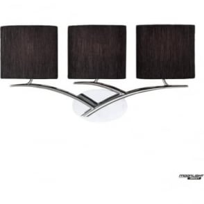 Eve 3 Light Switched Wall Fitting in Polished Chrome with Black Oval Shades