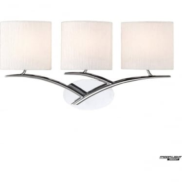 Eve 3 Light Switched Wall Fitting in Polished Chrome with White Oval Shades