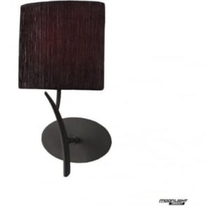 Eve Single Light Switched Wall Fitting in Anthracite with Black Oval Shade