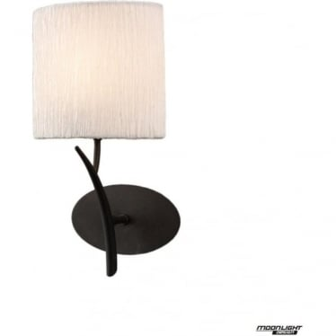Eve Single Light Switched Wall Fitting in Anthracite with White Oval Shade