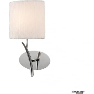 Eve Single Light Switched Wall Fitting in Polished Chrome with White Oval Shade