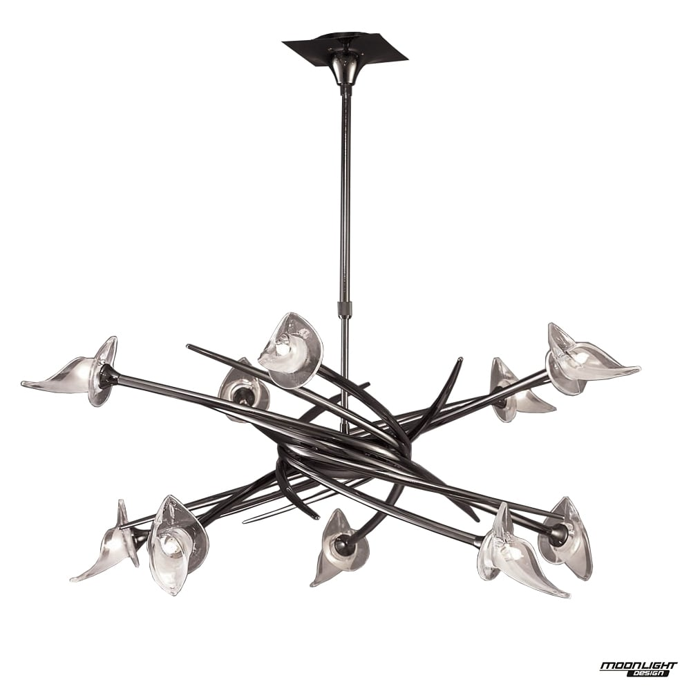 Mantra mantra flavia 10 light ceiling pendant fitting black chrome flavia 10 light ceiling pendant fitting black chrome mozeypictures Image collections