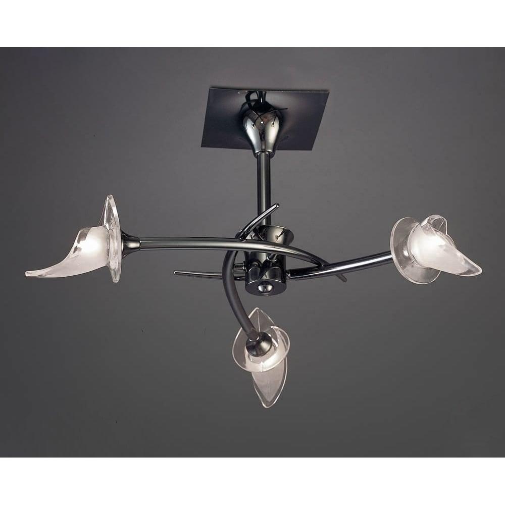 Flavia 3 light semi flush ceiling fitting black chrome