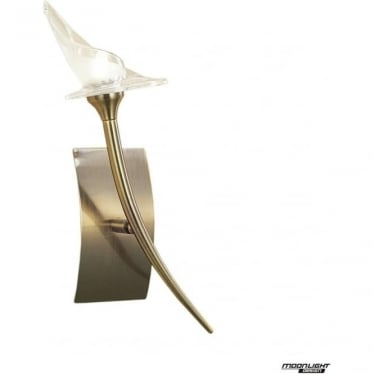 Flavia Single Light Wall Lamp Antique Brass
