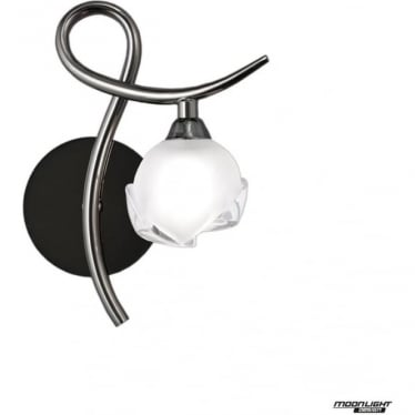 Fragma Single Light Wall Lamp Right Switched Black Chrome