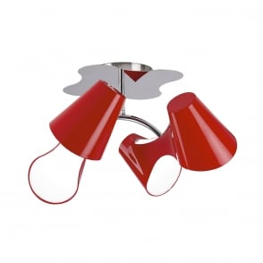 Ora 4 Light Ceiling Fitting - Gloss Red/White Acrylic/Polished Chrome