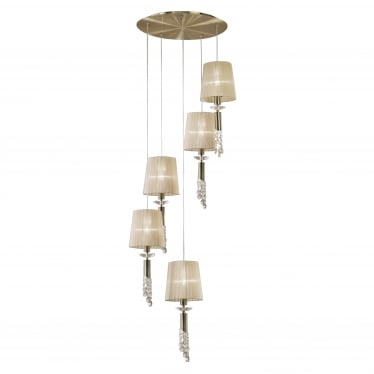 Tiffany 10 Light Adjustable Spiral Pendant - Antique Brass With Soft Bronze Shades & Clear Crystal