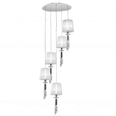 Tiffany 10 Light Adjustable Spiral Pendant - Polished Chrome With White Shades & Clear Crystal