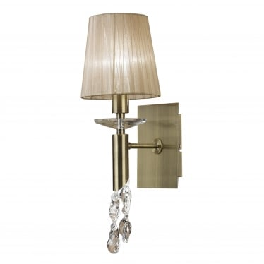 Tiffany 2 Light Switched Wall Fitting - Antique Brass With Soft Bronze Shade & Clear Crystal