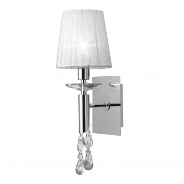 Tiffany 2 Light Switched Wall Fitting - Polished Chrome With White Shade & Clear Crystal