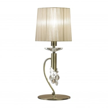 Tiffany 2 Light Table Lamp - Antique Brass With Soft Bronze Shade & Clear Crystal