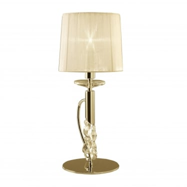 Tiffany 2 Light Table Lamp - French Gold With Cream Shade & Clear Crystal
