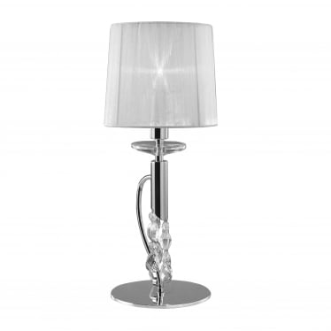Tiffany 2 Light Table Lamp - Polished Chrome With White Shade & Clear Crystal