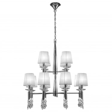 Tiffany 24 Light Adjustable Ceiling Pendant - Polished Chrome With White Shades & Clear Crystal