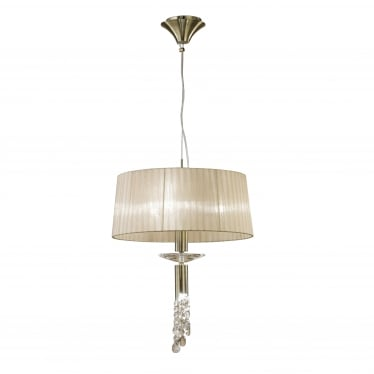 Tiffany 4 Light Adjustable Ceiling Pendant - Antique Brass With Soft Bronze Shade & Clear Crystal