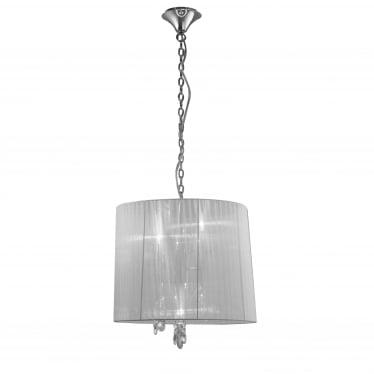 Tiffany 4 Light Adjustable Ceiling Pendant - Polished Chrome With White Shade & Clear Crystal