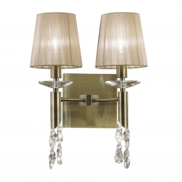 Tiffany 4 Light Switched Wall Fitting - Antique Brass With Soft Bronze Shades & Clear Crystal
