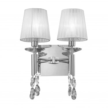 Tiffany 4 Light Switched Wall Fitting - Polished Chrome With White Shades & Clear Crystal