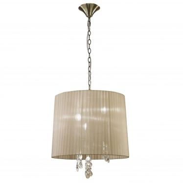Tiffany 6 Light Adjustable Ceiling Pendant - Antique Brass With Soft Bronze Shade & Clear Crystal