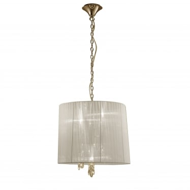 Tiffany 6 Light Adjustable Ceiling Pendant - French Gold With Cream Shade & Clear Crystal