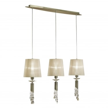 Tiffany 6 Light Adjustable Line Pendant - Antique Brass With Soft Bronze Shades & Clear Crystal
