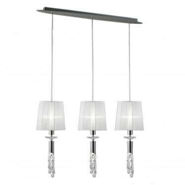 Tiffany 6 Light Adjustable Line Pendant - Polished Chrome With White Shades & Clear Crystal