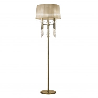 Tiffany 6 Light Floor Lamp - Antique Brass With Soft Bronze Shade & Clear Crystal