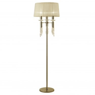 Tiffany 6 Light Floor Lamp - French Gold With Cream Shade & Clear Crystal