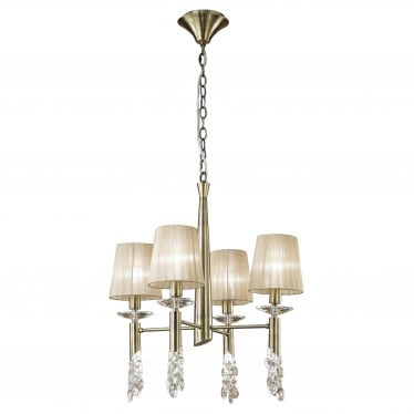 Tiffany 8 Light Adjustable Ceiling Pendant - Antique Brass With Soft Bronze Shades & Clear Crystal