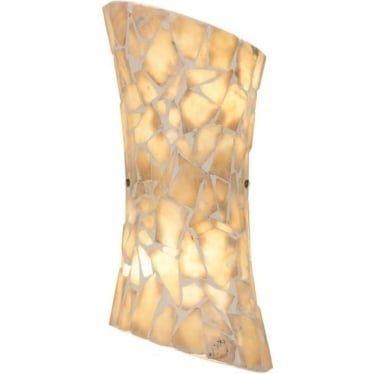 Marconi 2 light wall fitting -Natural Stone Mosaic Glass & Satin Nickel Finish