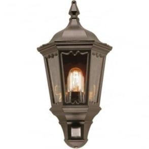 Medstead Half Lantern  with PIR - Black