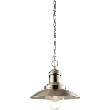 Mendip Single Pendant - Satin Nickel & Clear Glass