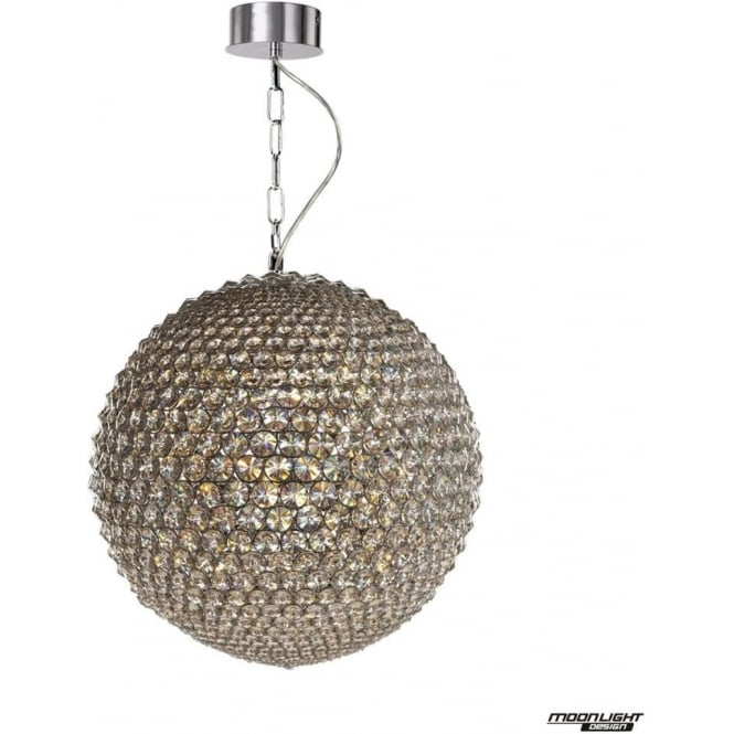 Illuminati Milano Large Pendant Chrome with Clear Crystal Dimmable