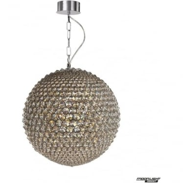 Milano Large Pendant Chrome with Clear Crystal Dimmable