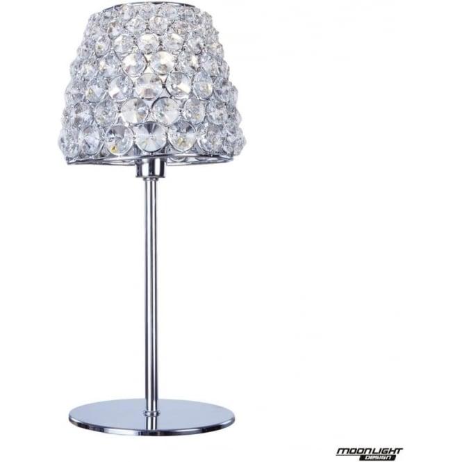 Illuminati Milano Table Lamp Chrome with Clear Crystal
