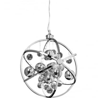 Muni 480mm Pendant - Chrome Plate with Clear & Chrome Glass - Large