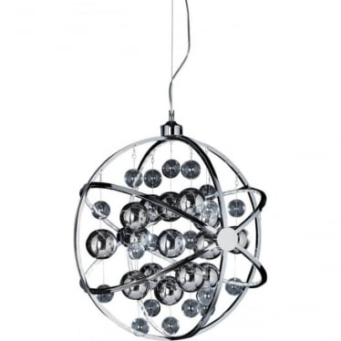 Muni 600mm Pendant - Chrome Plate With Clear & Chrome Glass - Extra large
