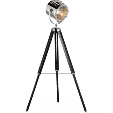 Nautical Tripod Floor Lamp  - Nickel and Black Finish