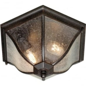 New England Flush Lantern Medium - Weathered Bronze