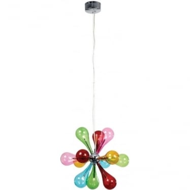 Niven 9 Light Pendant - Multi Coloured Glass & Chrome Plate