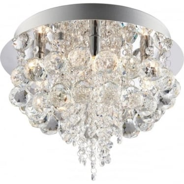 Olmos 5 light flush fitting - Chrome plate & clear crystal glass