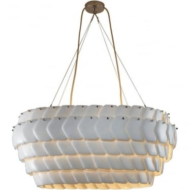 Cranton Oval Pendant (880mm) Sand and Taupe Braided Cable