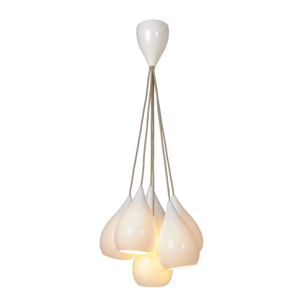 white pendant lighting. Drop One Grouping Of Six Pendant Lights - White Gloss Or Matt Lighting
