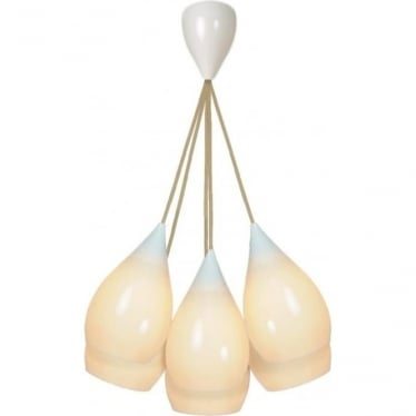 Drop One SMALL Grouping of Six Pendant Lights - White Gloss