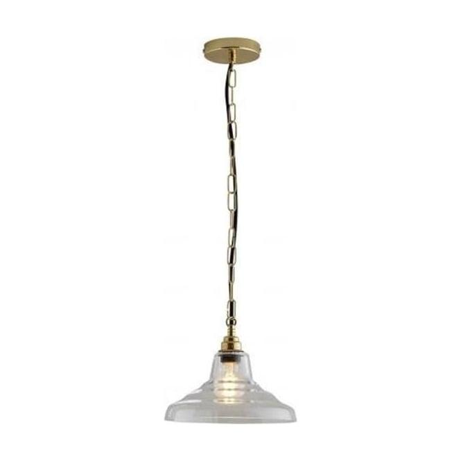 Original BTC Lighting Glass School pendant light size 1 - Clear and brass