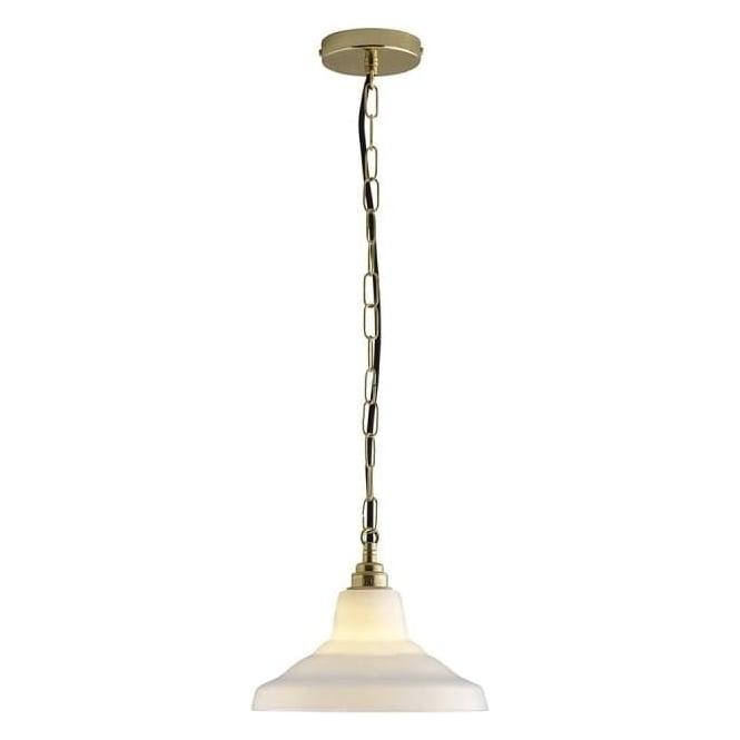 Original BTC Lighting Glass School pendant light size 1 - Opal and brass