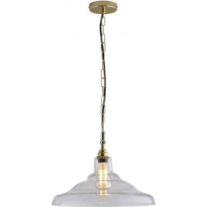 Original BTC Lighting Glass School pendant light size 2 - Clear and brass
