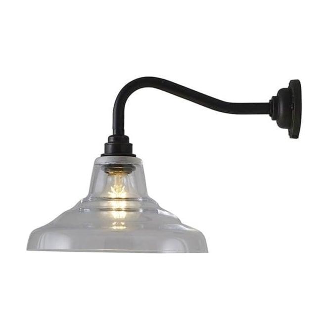 Original BTC Lighting Glass school wall light size 1 - Clear and weathered brass