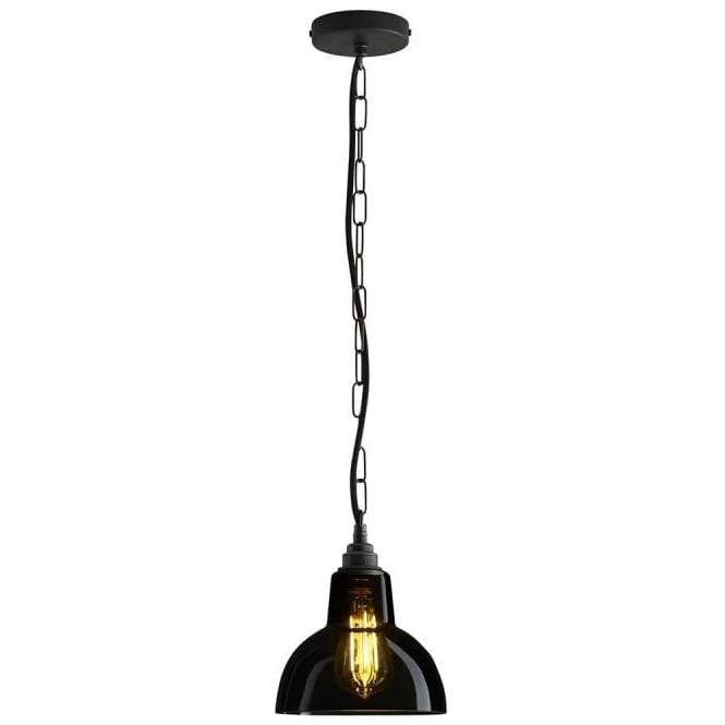 Original BTC Lighting Glass york pendant size 1 - Anthracite and weathered brass