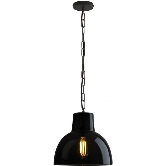 Original BTC Lighting Glass york pendant size 2 - Anthracite and weathered brass